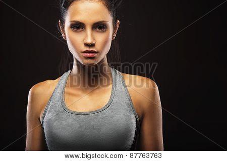 closeup portrait of sporty woman