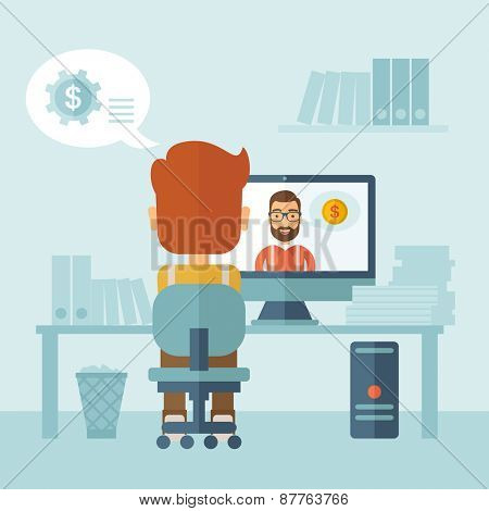 Man sitting inside his office facing backward while the other man is inside the computer, communicate each other discussing about business by using the internet thru skype video. Communication concept poster