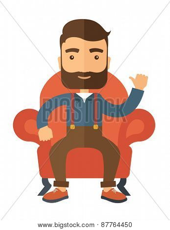 A successful businessman with beard smiling while sitting like a king. Achievement concept. A Contemporary style . Vector flat design illustration isolated white background. Vertical layout.