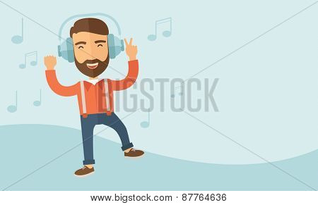 Happy young man with beard dancing, singing while listening to music with headphones showing the notes at his back. Happy concept. A contemporary style with pastel palette, soft blue tinted background