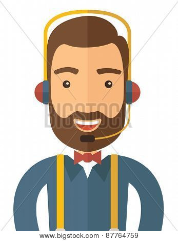 An operator man with headset customer service helpdesk service. Call center concept. A contemporary style. Vector flat design illustration with isolated white background. Vertical layout.