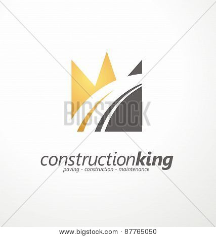 Road construction creative symbol layout.