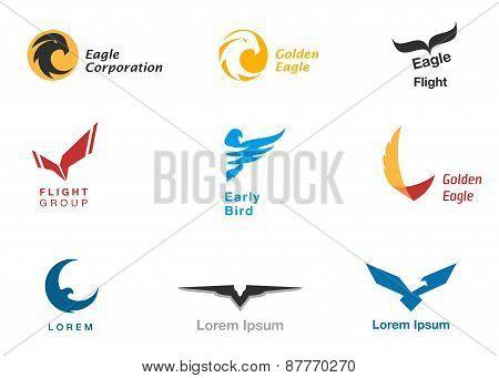 Birds branding symbols vector set on white poster