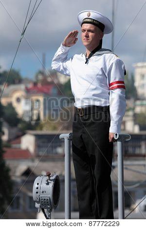 SEVASTOPOL, CRIMEA, UKRAINE - AUGUST 17, 2012: Watchman on the Russian frigate