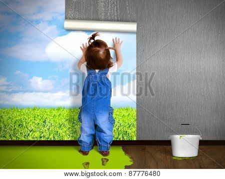 Funny Child Hanging Wallpaper, Doing Repairs.