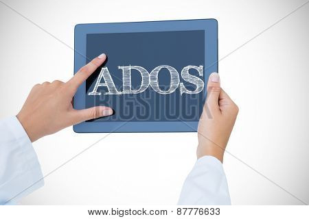 The word ados against doctor using tablet pc