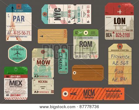Vintage Baggage Tags - Vintage luggage paper tags for flights to most popular destinations, with their famous landmarks, including London, Paris, New York, Rome, Pisa and Moscow; weathered and worn