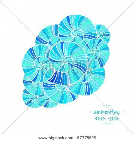 Pattern With Ammonites. Vector Illustration. Sea Theme