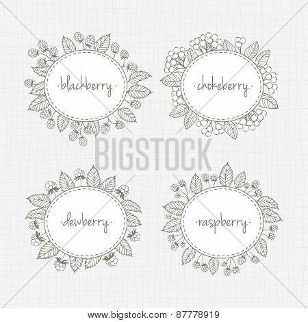 Collection Of Frames With Berries And Leaves