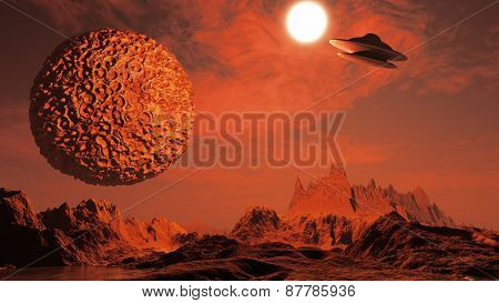 3D render of a surreal science fiction scene with spaceship