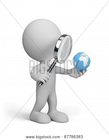 Globe Under A Magnifying Glass