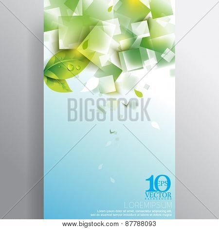 eps10 vector green spring fresh leaf water droplets overlapping geometric transparent squares background