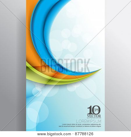 eps10 vector multicolor business template layout light flares bent thick lines background design