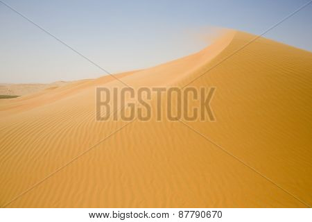 Sand desert, and a yellow dune weave