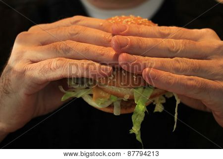 Man Holding A Hamburger