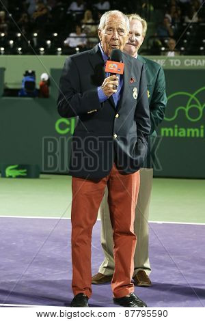 KEY BISCAYNE, FL-MAR 26: Tennis coach Nick Bollettieri receives his International Tennis Hall of Fame ring at Crandon Park Tennis Center on March 26, 2015 at the  Miami Open in Key Biscayne, Florida.