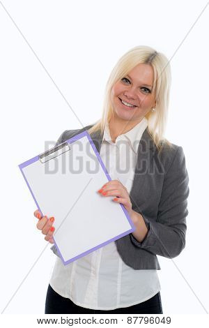 Blond Young Business Woman With A Clipboard