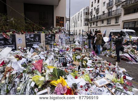 Paris, France - JANUARY 7TH, 2015: March against Charlie Hebdo magazine terrorism attack, on January 7th, 2015, testimony in Paris
