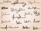 Collection of handwritten signatures. Personal contract fictitious signature set. poster