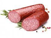Smoked sausage salami isolated on white background cutout poster