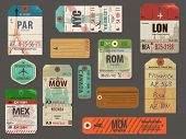 Vintage Baggage Tags - Vintage luggage paper tags for flights to most popular destinations, with their famous landmarks, including London, Paris, New York, Rome, Pisa and Moscow; weathered and worn poster