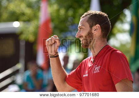 MOSCOW, RUSSIA - JULY 17, 2015: Gerard Rodriguez of Spain in the match of ITF Beach Tennis World Team Championship against Venezuela. Spain won 2-1