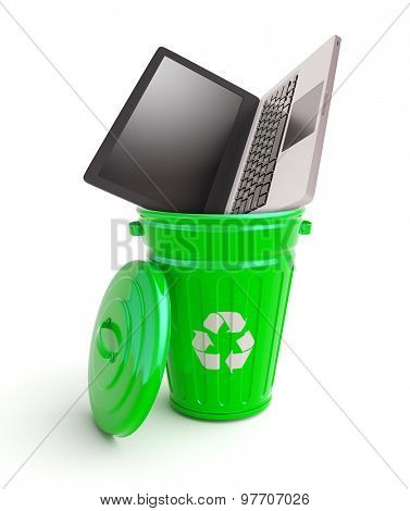 Green garbage bin with computer