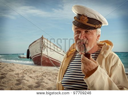 Captain. Sailor man in marina port with boats background  poster