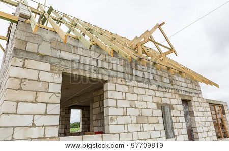 Roof Of Unfinished House In Countryside