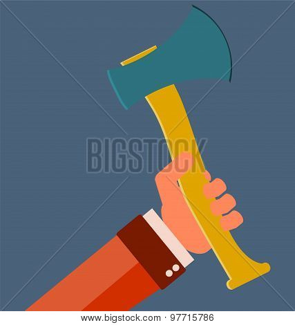 Hand gripping the ax, icon, vector Illustration. poster