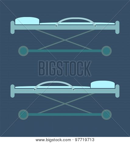 stretcher bed rescue icon image for healthcare. medical concept. poster
