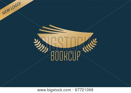 Book cup template logo icon. Back to school. Education, university, college symbol or knowledge, boo