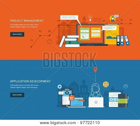 Flat design illustration concepts for business analysis, consulting, team work, project management and application development. Vector illustration poster