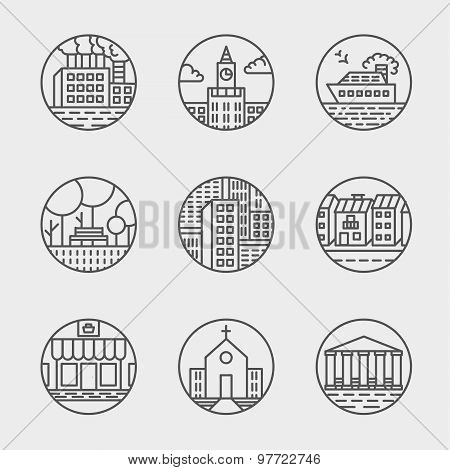 Vector set of thin icons design set. Moder simple line icons.