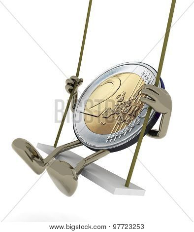 Two Euro Coin On A Swing