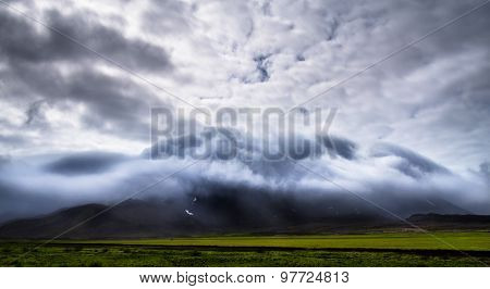 Misty Mountain In The Middle Of Iceland