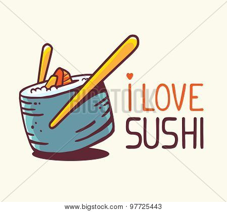 Vector Illustration Of Great Blue Green Sushi With Title I Love Sushi On White Background.