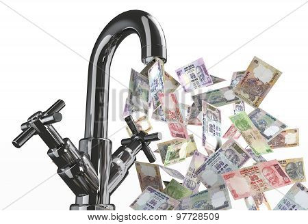 Tap Water With Rupee Banknotes