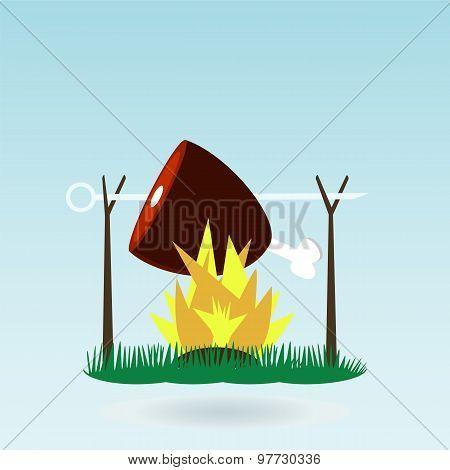 Meat, Ham, Gammon. Fire. Grass Concept.