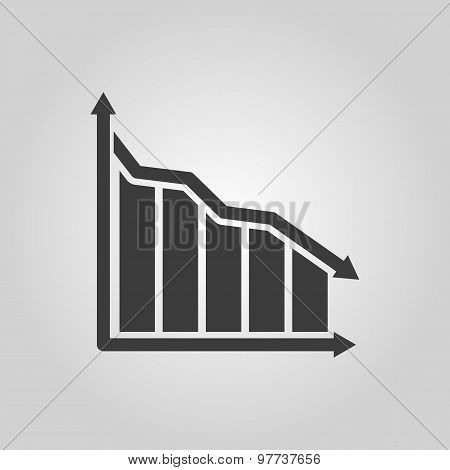 The graph down icon. Chart below and loss, reduction symbol. Flat