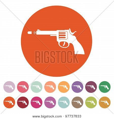 The gun icon. Pistol and handgun, weapon, revolver, shot symbol. Flat Vector illustration. Button Set poster