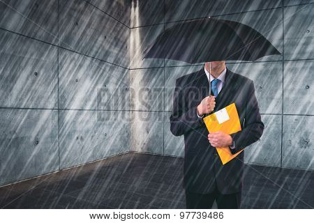 Insurance Agent with Umbrella Protecting from Rain in Urban Outdoor Setting Risk Assessment and Analysis poster