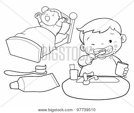 Cute Boy Wakeup Line Art