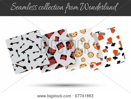 Alice Set of Seamless patterns from Wonderland World