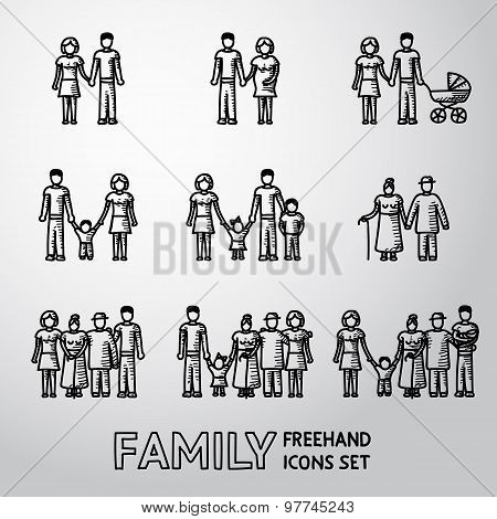 Multigenerational family freehand icons set with all ages members. Vector