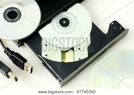 DVD recorder isolated on white closeup