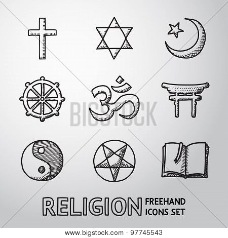 World religion hand drawn symbols set. vector