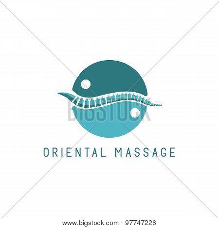 Spine Logo, Oriental Massage Blue Symbol, Diagnostic Center Icon