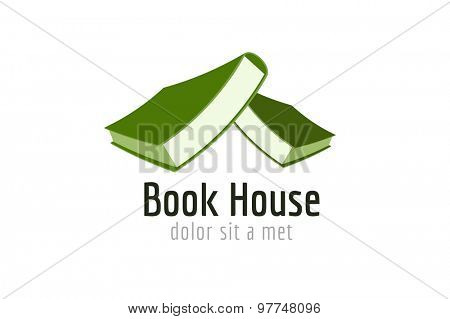 Book house roof template logo icon. Back to school. Education, university, college symbol or knowledge, books stack, publish, page paper. Design element. Isolated on white