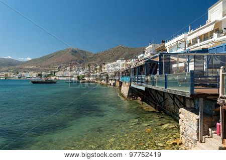 Landscape, mountains and view of a small harbor of Crete island, Greece